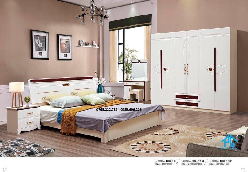 Bộ giường tủ trắng kem 1826