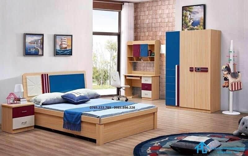 bộ giường tủ bàn học màu gỗ sồi trắng tự nhiên 209