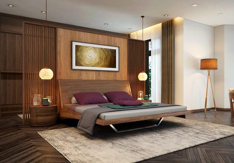 giường ngủ tự nhiên chân kim loại