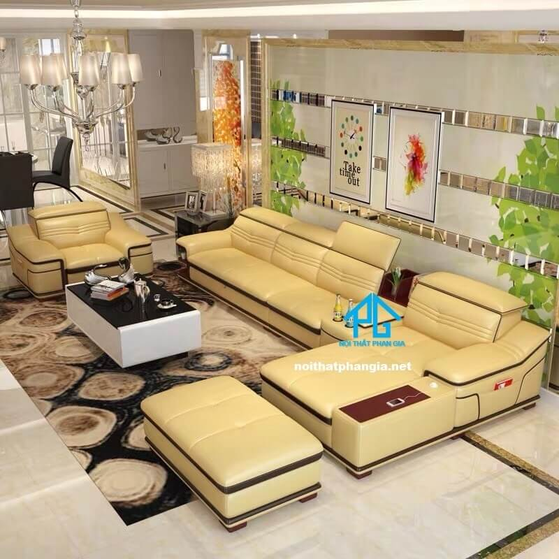 Sofa da hiện đại E22