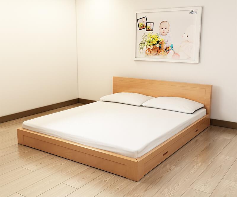 giường ngủ gỗ không chân thông minh