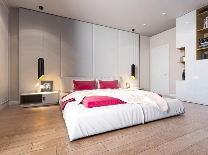 Giường ngủ không chân bằng nệm cao cấp