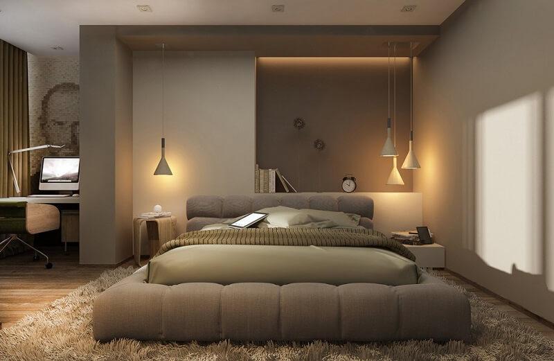 giường ngủ không chân bọc nệm cao cấp