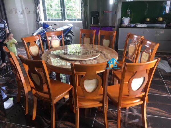 bàn ăn 10 ghế hình tròn mặt đá