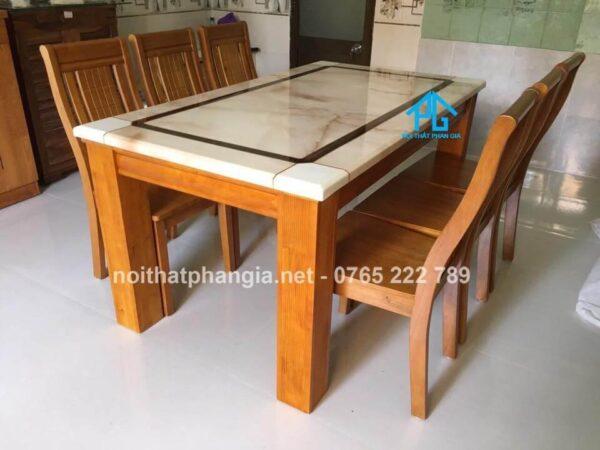 bàn ăn 6 ghế mặt đá chất lượng