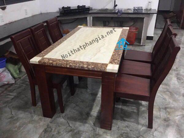 bàn ăn 6 ghế mặt đá chính hãng