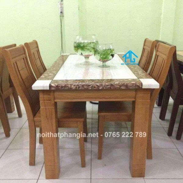 bàn ăn 6 ghế mặt đá chữ nhật
