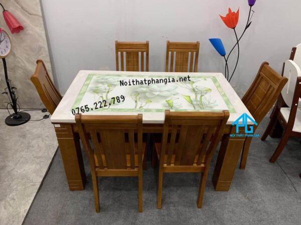 bàn ăn 6 ghế mặt đá đài loan