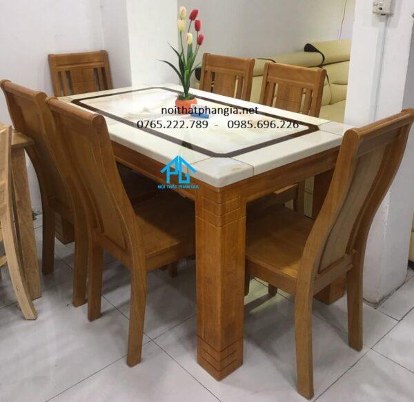 bàn ăn 6 ghế mặt đá hoa cương