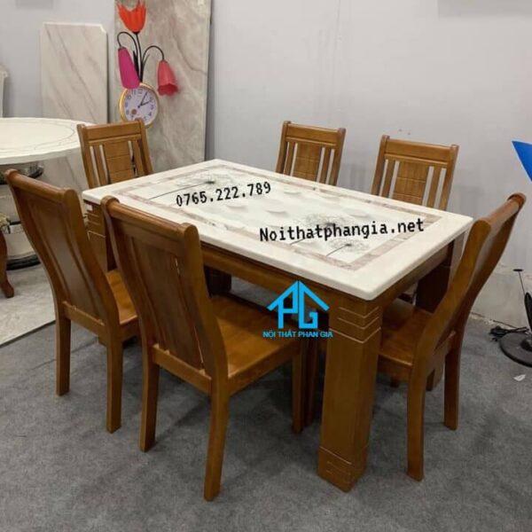 bàn ăn 6 ghế mặt đá nhập khẩu