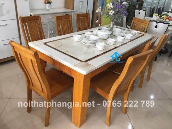 bàn ăn 6 ghế mặt đá sang trọng