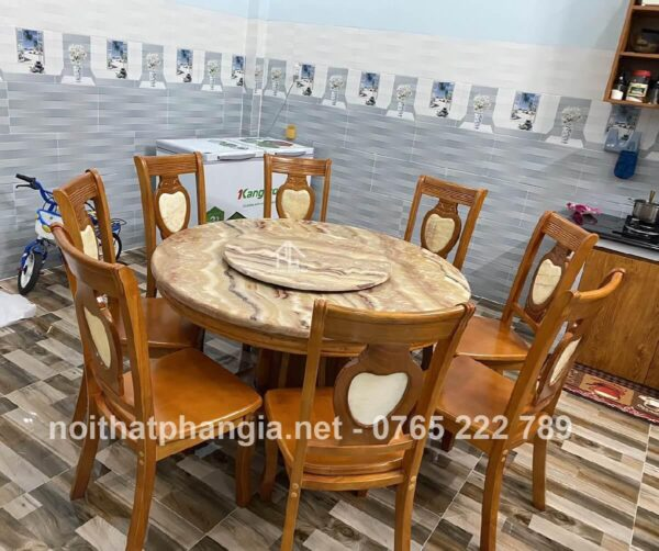 bàn ăn 8 ghế mặt đá tròn