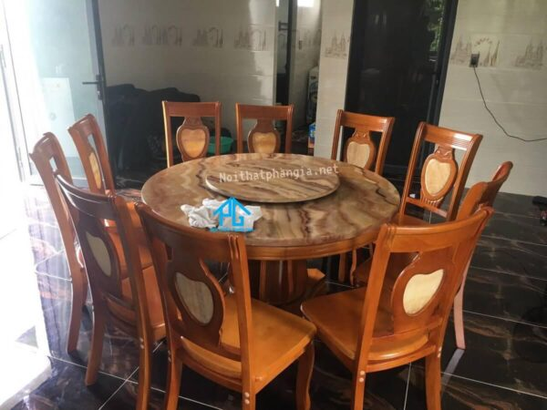 bàn ăn hình tròn mặt đá 10 ghế