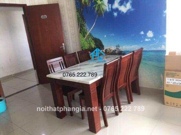 bàn ăn mặt đá 6 ghế tphcm