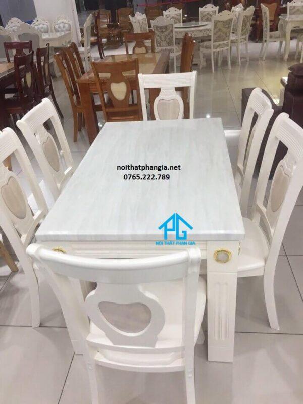 bàn ăn mặt đá chữ nhật 6 ghế BA02 màu trắng
