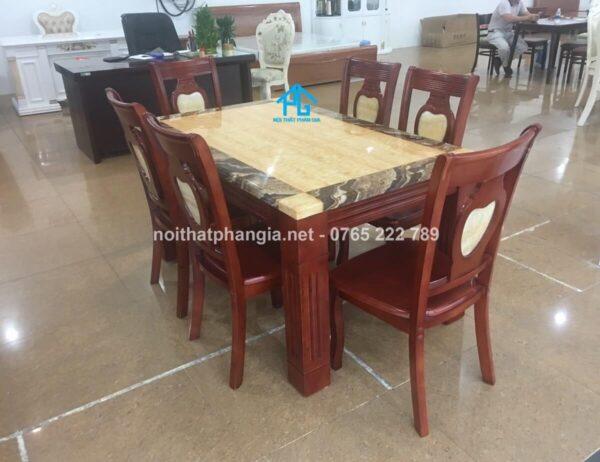 bàn ăn mặt đá hình chữ nhật 6 ghế BA02 màu đỏ