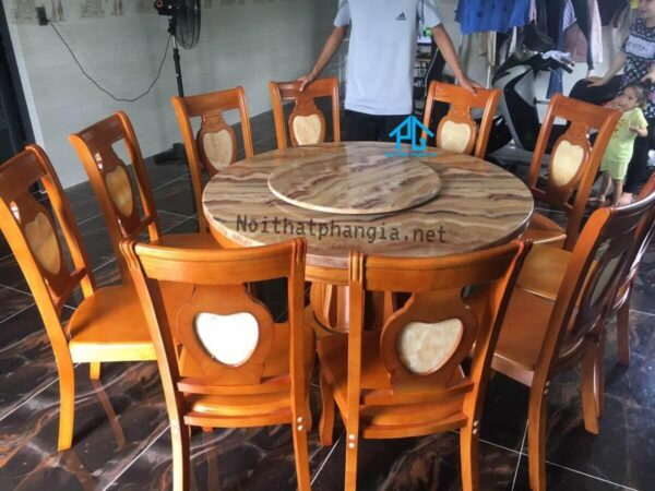 bàn ăn tròn mặt đá 10 ghế