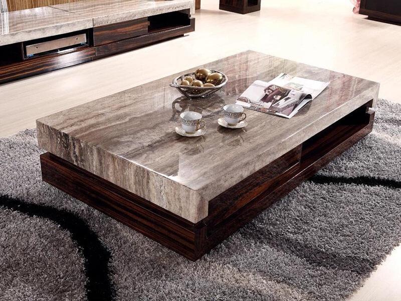 bàn trà gỗ mặt đá hình chữ nhật