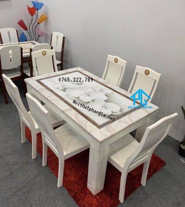 bộ bàn ăn 6 ghế mặt đá vân mây