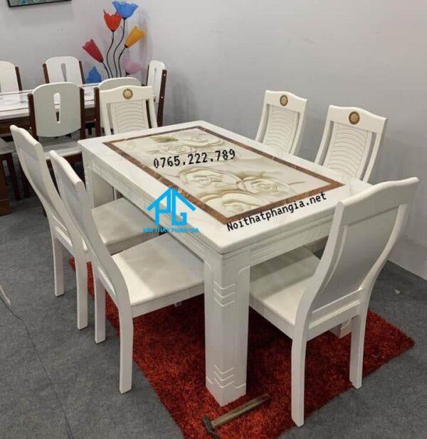 bộ bàn ăn 6 ghế trắng mặt đá