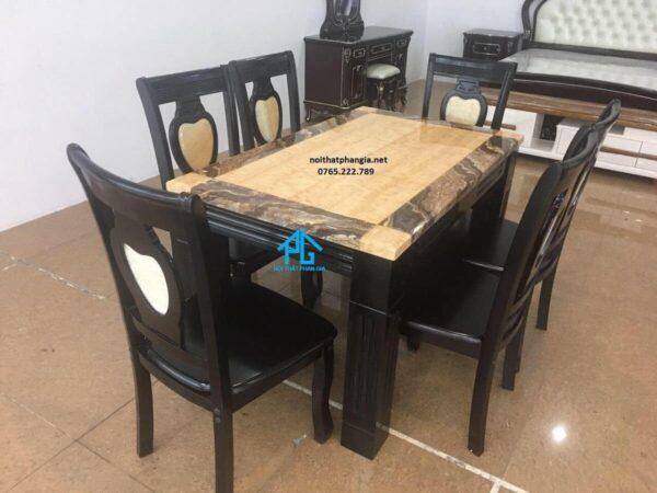 bộ bàn ăn mặt đá 6 ghế chữ nhật giá rẻ