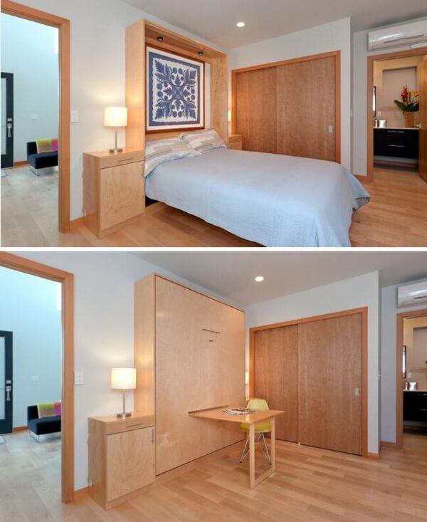 giường đa năng âm tường và bàn gấp