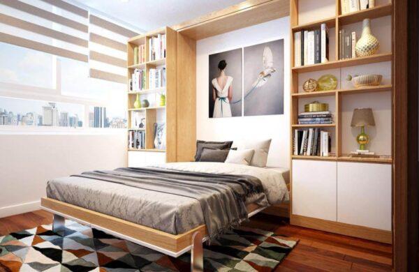 giường gấp thông minh kết hợp tủ
