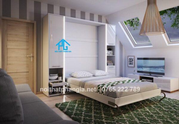 giường gỗ gấp đa năng kết hợp tủ đồ
