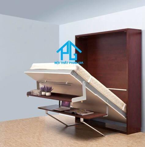 giường gỗ gấp đa năng kết hợp với bàn
