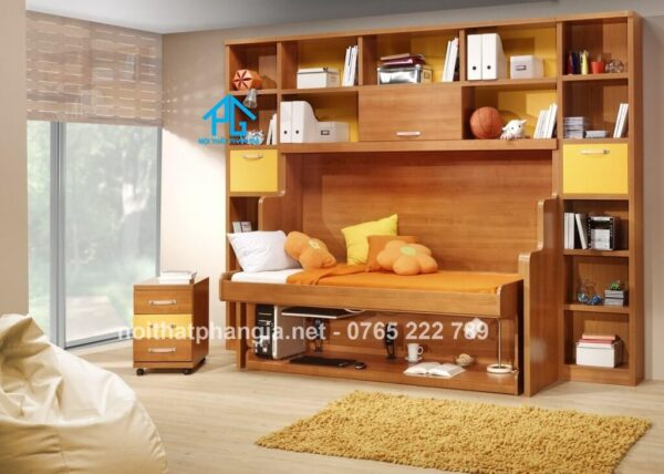 giường gỗ gấp kết hợp bàn học tủ quần áo