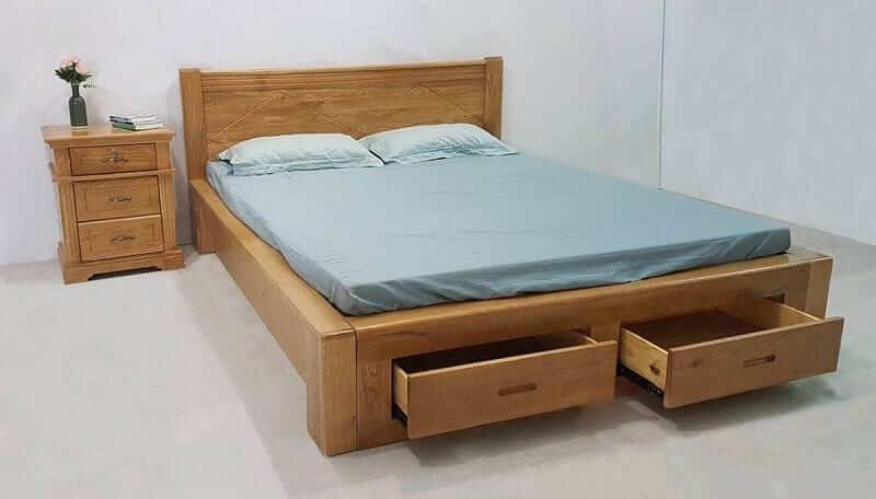 giường gỗ gõ đỏ có ngăn kéo