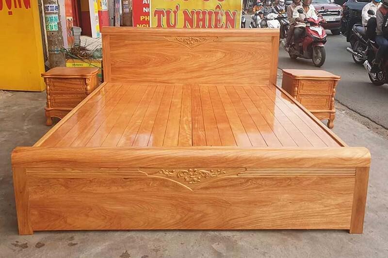 giường gỗ gõ đỏ kiểu hộp