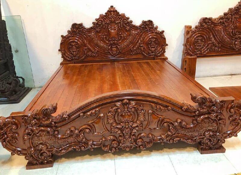 giường gỗ gõ đỏ thiết kế hoàng gia