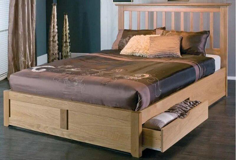 giường gỗ hộp có ngăn kéo