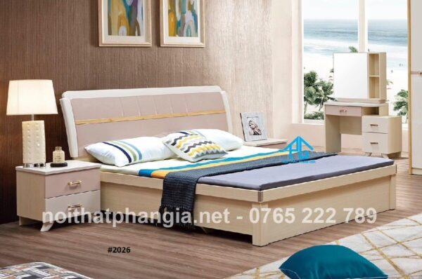 giường gỗ sồi không chân