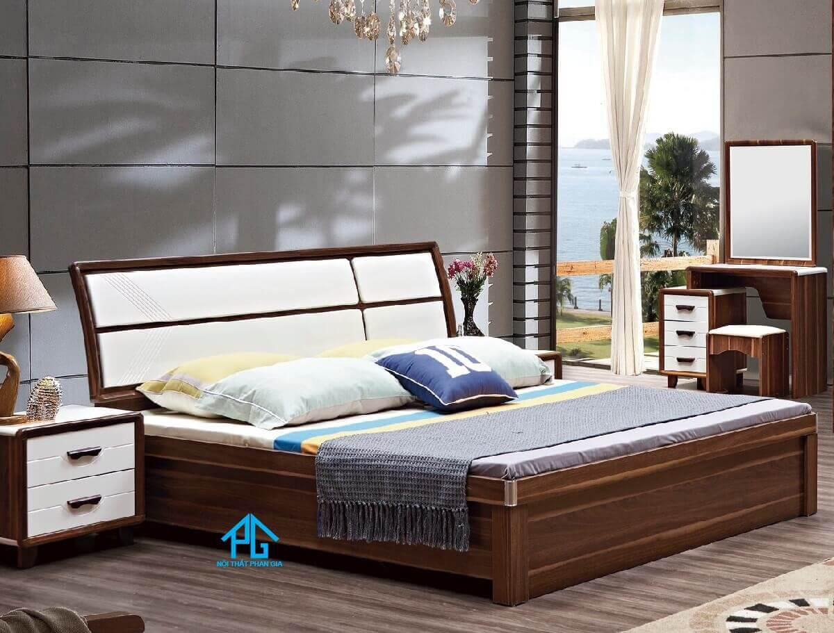 giường gỗ sồi thông minh hiện đại;