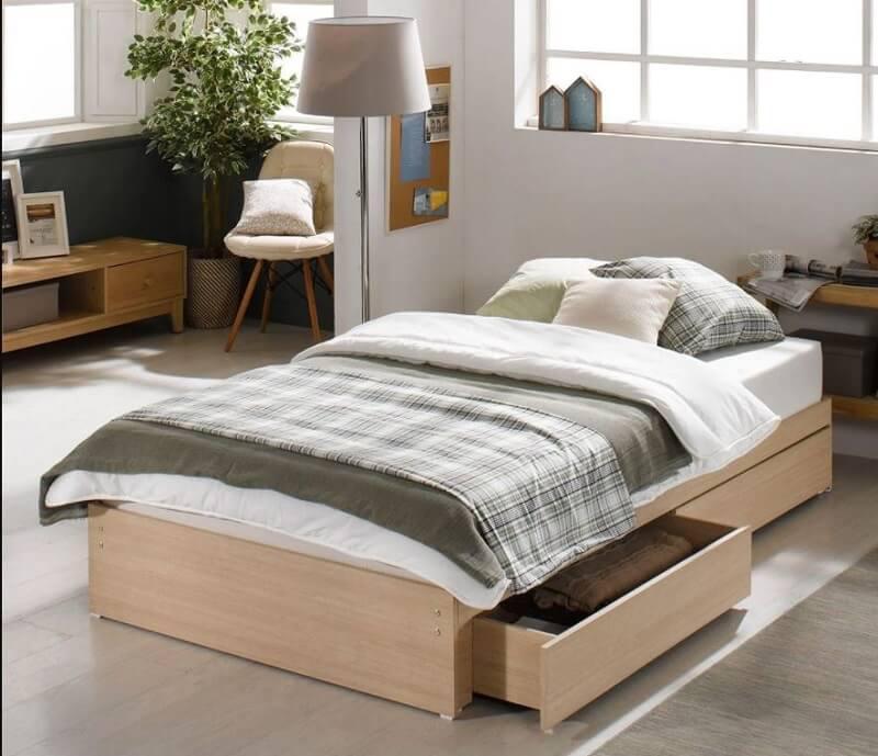giường không chân có ngăn kéo