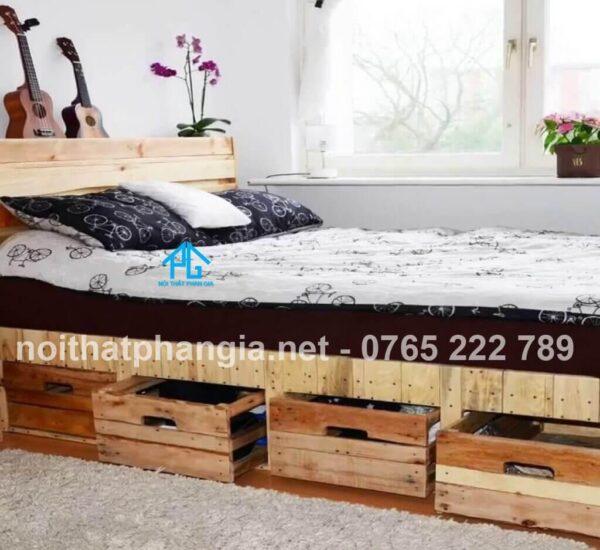 giường pallet có hộc tủ