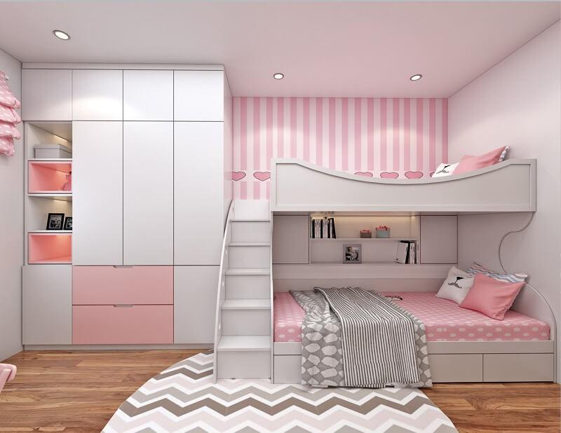 giường tầng không chân cho bé gái