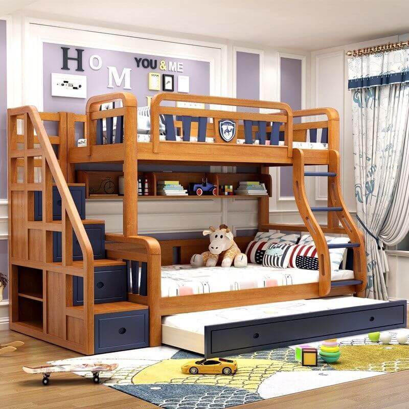 giường tầng gỗ sồi dành cho trẻ em