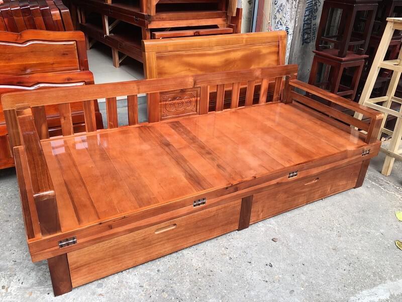 giường gỗ gấp đôi thành ghế có ngăn kéo