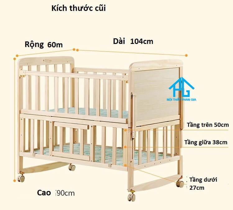 kích thước giường cũi cho bé;