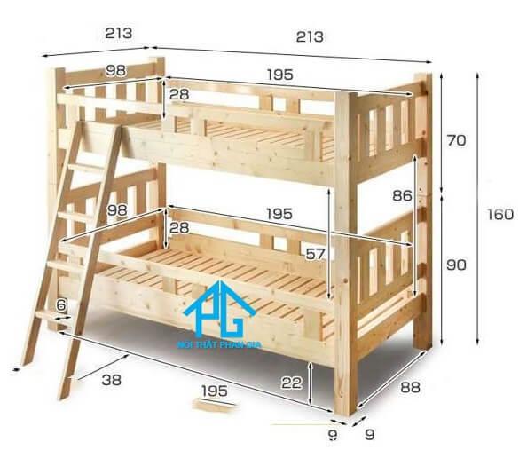 kích thước giường tầng hiện đại;