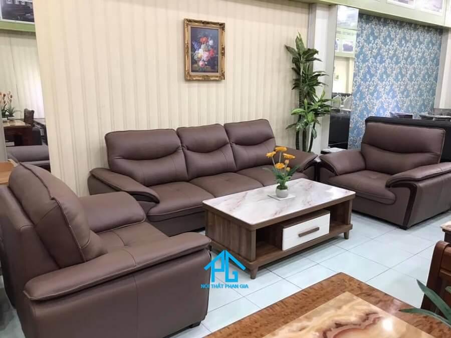 Sofa da nhập khẩu cao cấp PG KB305 ( nâu )