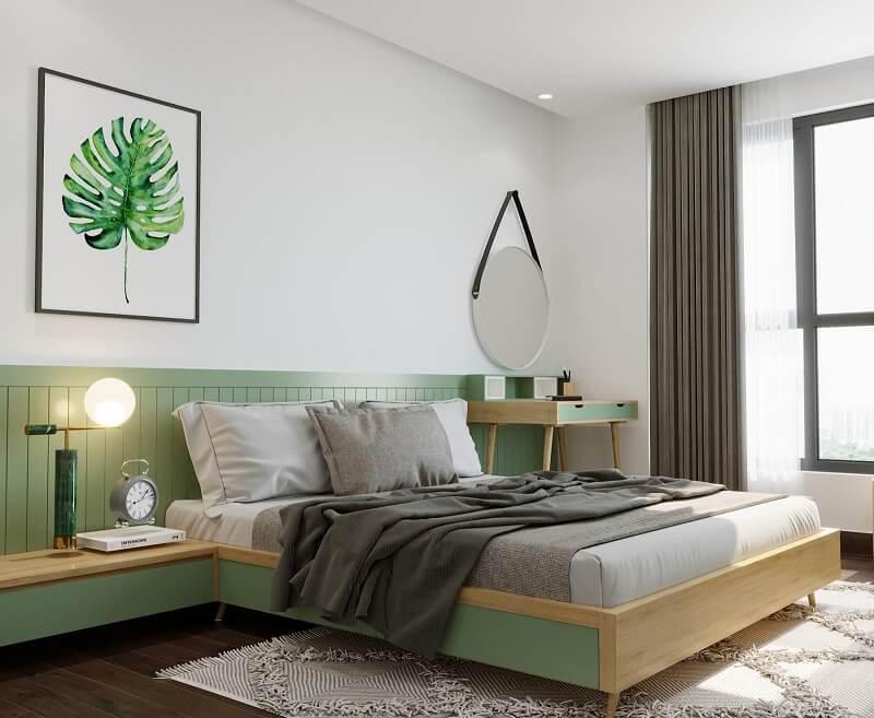 tab đầu giường gắn liền với giường ngủ