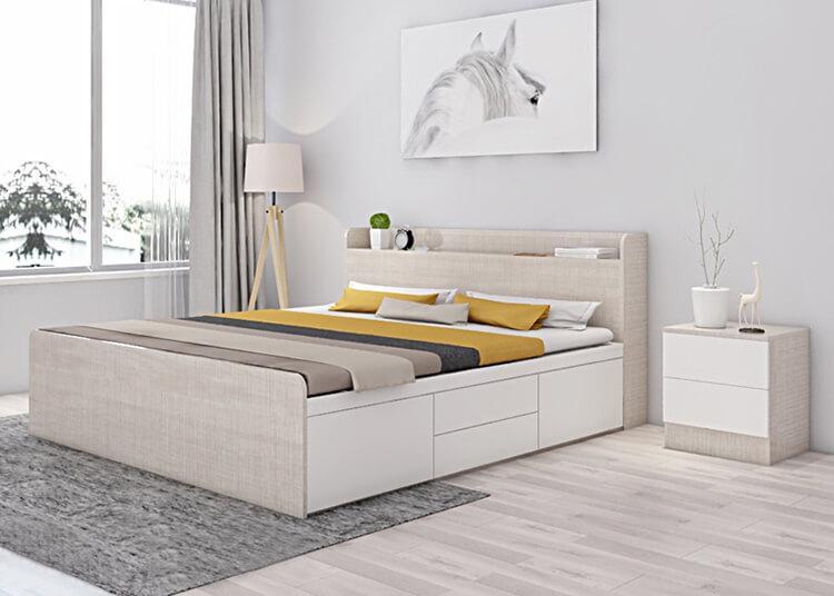 tạo không gian sống tiện nghi với giường ngủ không chân