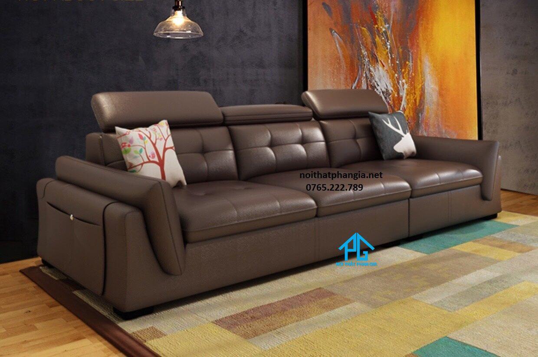 sofa giường bọc da;