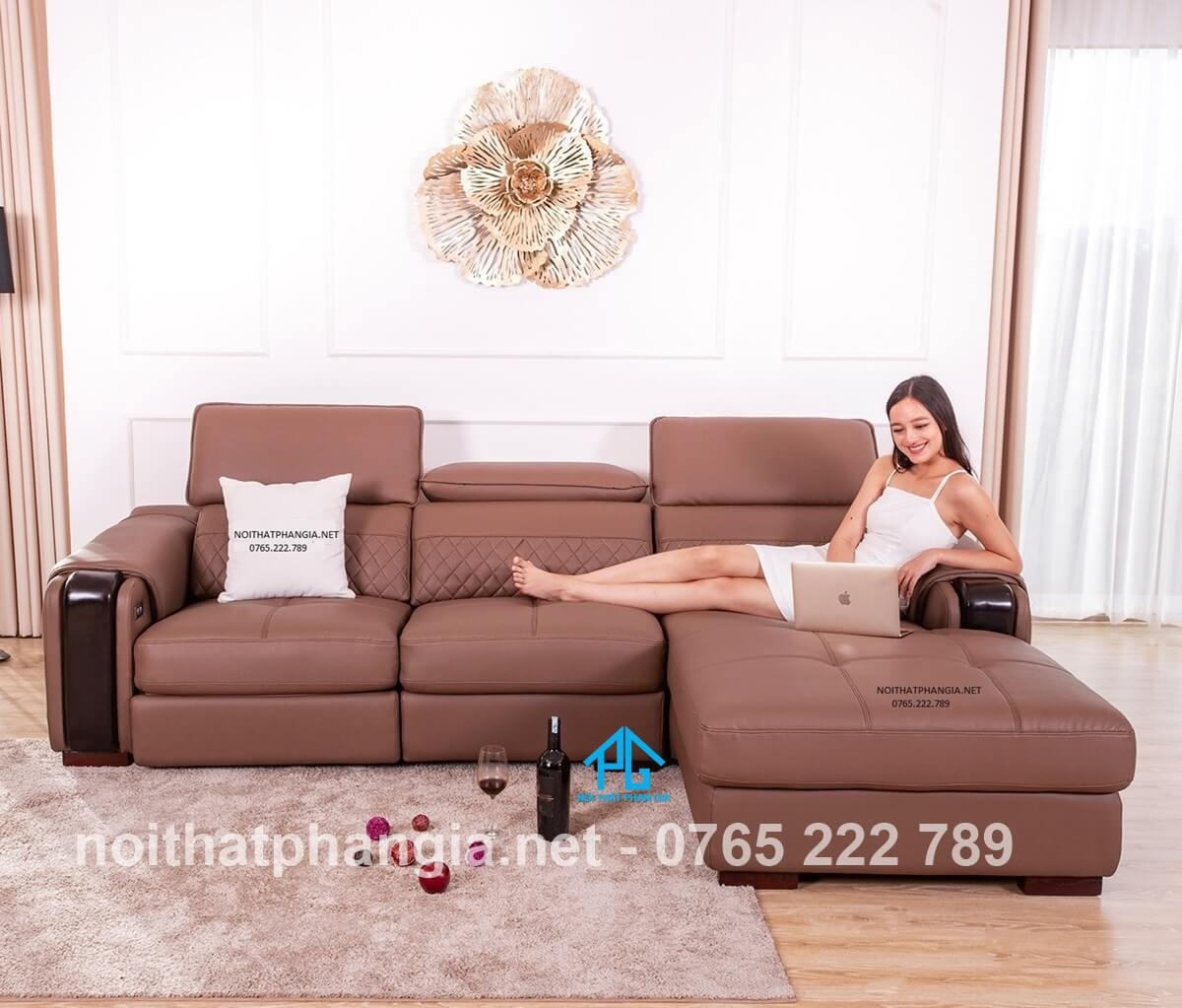 sofa giường góc chữ L bọc da