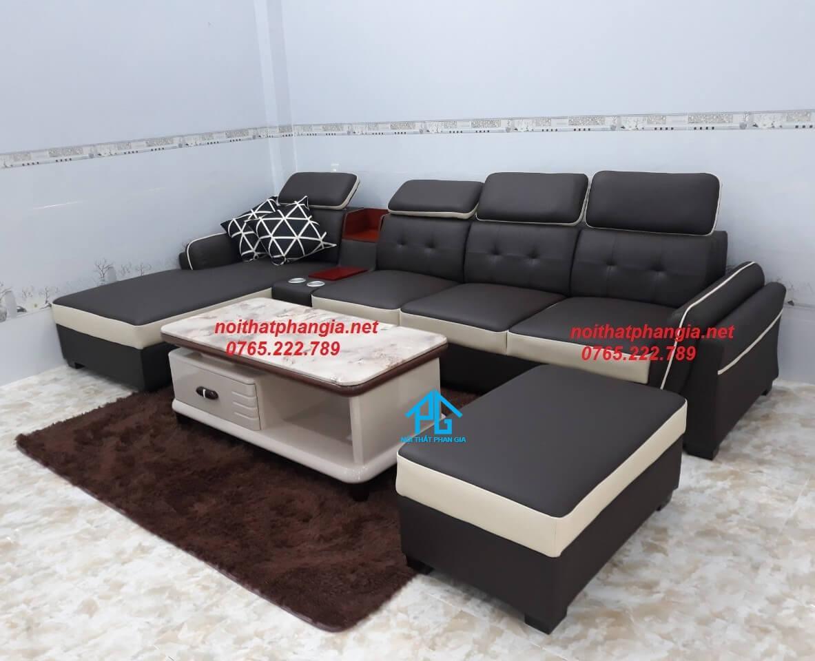 sofa vải phòng khách chữ L;