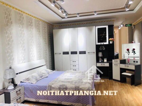 bộ giường ngủ bàn trang điểm tủ góc tư b2001ztt